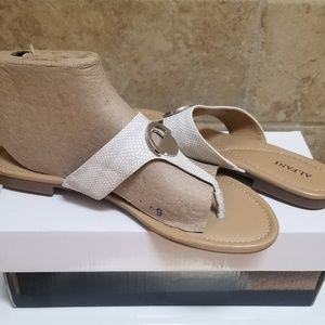 "Alfani Shoes - ""NWB"" Lizard textured thong sandals"